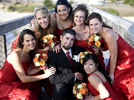<strong>Weddings</strong><br /> The groom beaming among the beautiful bridesmaids.
